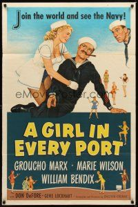 2j390 GIRL IN EVERY PORT 1sh '52 artwork of wacky sailor Groucho Marx & sexy Marie Wilson!