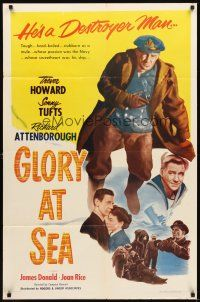 2j392 GLORY AT SEA 1sh '53 Trevor Howard as World War II Navy soldier, Gift Horse!