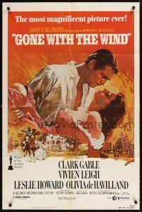 2j393 GONE WITH THE WIND 1sh R80s Clark Gable, Vivien Leigh, Leslie Howard, all-time classic!