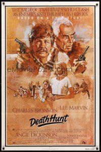 2w257 DEATH HUNT 1sh '81 artwork of Charles Bronson & Lee Marvin with guns by John Solie!