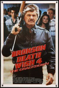 2w262 DEATH WISH 4 1sh '87 cool image of Charles Bronson w/assault rifle!