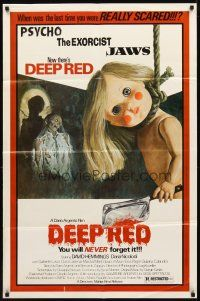 2w268 DEEP RED 1sh '77 Dario Argento, creepy artwork of doll with cleaver hanging from noose!