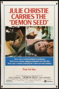 2w271 DEMON SEED style B 1sh '77 Julie Christie is profanely violated by a demonic machine!