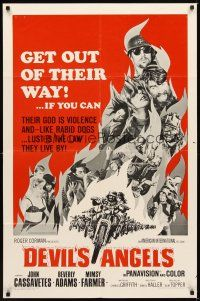 2w275 DEVIL'S ANGELS 1sh '67 AIP, Roger Corman, their god is violence, lust the law they live by!