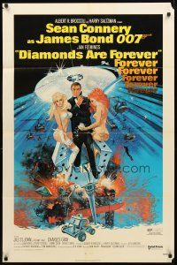 2w277 DIAMONDS ARE FOREVER 1sh '71 Sean Connery as James Bond 007 by Robert McGinnis!