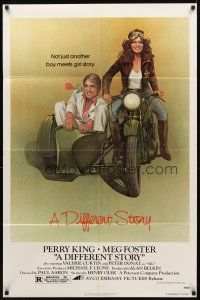 2w281 DIFFERENT STORY 1sh '78 art of Meg Foster on motorcycle & Perry King in sidecar by Obrero!