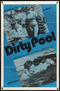 2w287 DIRTY POOL 1sh '70 Neola Graef, sexy Uschi Digard, swimming pool sex!