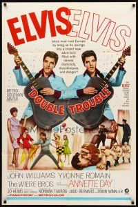 2w299 DOUBLE TROUBLE 1sh '67 cool mirror image of rockin' Elvis Presley playing guitar!