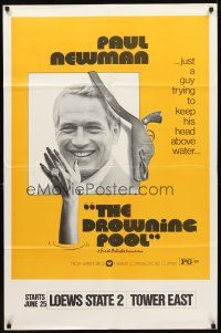 2w308 DROWNING POOL premiere teaser 1sh '75 cool image of Paul Newman as private eye Lew Harper!