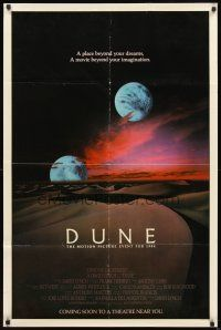 2w310 DUNE advance 1sh '84 David Lynch sci-fi epic, best image of two moons over desert!