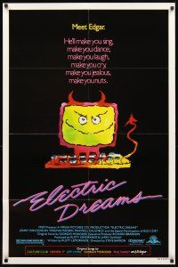 2w317 ELECTRIC DREAMS 1sh '84 Virginia Madsen, wacky art of smiling devil computer!