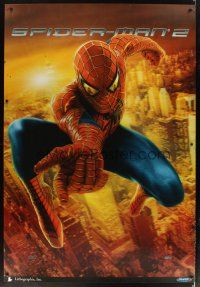 2x143 SPIDER-MAN 2 lenticular bus stop '04 huge image of superhero Tobey Maguire over city!