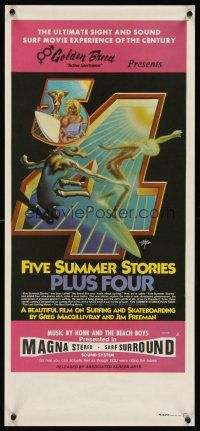 3b053 FIVE SUMMER STORIES PLUS FOUR Aust daybill '72 really cool surfing artwork by Rick Griffin!