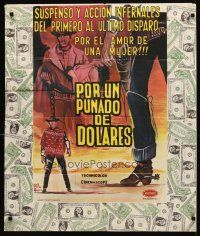 3b028 FISTFUL OF DOLLARS Colombian poster '64 Sergio Leone, Clint Eastwood, most dangerous man!