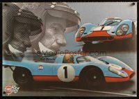 3b037 GULF PORSCHE 917 2-sided 24x34 Swiss advertising poster '70s images of classic Le Mans racer!