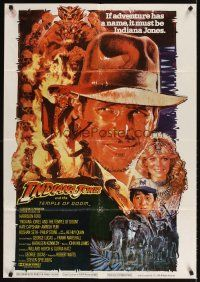 3b008 INDIANA JONES & THE TEMPLE OF DOOM Lebanese '84 art of Harrison Ford & Capshaw by Drew!