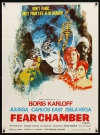 3b021 FEAR CHAMBER MexicanEnglish poster '73 cool horror art of Boris Karloff in his last movie!
