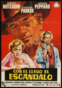 3b079 HOME FROM THE HILL Spanish R72 Jano art of Robert Mitchum, Eleanor Parker & George Peppard!