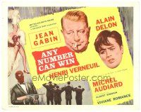 3e030 ANY NUMBER CAN WIN int'l TC '63 artwork of smoking Jean Gabin, Alain Delon & sexy showgirl!