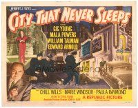 3e041 CITY THAT NEVER SLEEPS TC '53 great art of gangsters & cops in Chicago!