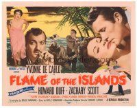 3e052 FLAME OF THE ISLANDS TC '55 Yvonne De Carlo in sexy dress & kissing Howard Duff!