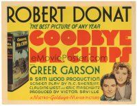 3e058 GOODBYE MR. CHIPS TC '39 Robert Donat, pretty Greer Garson, from James Hilton's book!