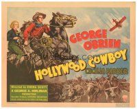 3e061 HOLLYWOOD COWBOY TC '37 art of cowboy George O'Brien & Cecilia Parker with cattle herd!