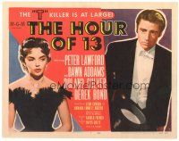 3e062 HOUR OF 13 TC '52 Peter Lawford & sexy Dawn Addams, the T killer is at large!