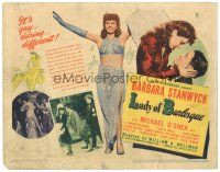 3e065 LADY OF BURLESQUE TC '43 great image of sexy Barbara Stanwyck in two-piece dress!
