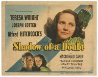 3e009 SHADOW OF A DOUBT TC '43 directed by Alfred Hitchcock,Teresa Wright, Joseph Cotten