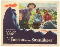 3e003 TREASURE OF THE SIERRA MADRE LC #5 '48 Humphrey Bogart between Tim Holt & Huston by rock!