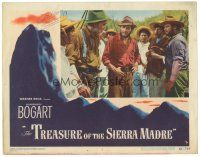 3e002 TREASURE OF THE SIERRA MADRE LC #7 '48 Humphrey Bogart, Holt & Huston meet with Mexicans!