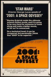 3g009 2001: A SPACE ODYSSEY 1sh R78 George Lucas raves about Kubrick's sci-fi classic!