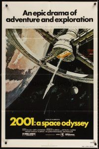 3g008 2001: A SPACE ODYSSEY 1sh R80 Stanley Kubrick, art of space wheel by Bob McCall!