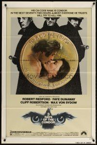 3g010 3 DAYS OF THE CONDOR 1sh '75 secret agent Robert Redford & Faye Dunaway!