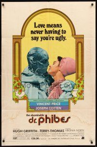 3g014 ABOMINABLE DR. PHIBES 1sh '71 Vincent Price says love means never having to say you're ugly!