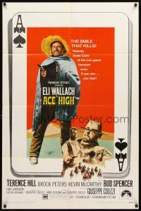 3g017 ACE HIGH 1sh '69 Eli Wallach, Terence Hill, spaghetti western, cool ace of spades design!