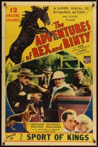 3g019 ADVENTURES OF REX & RINTY chapter 2 1sh '35 serial about a horse & German Shepherd dog!