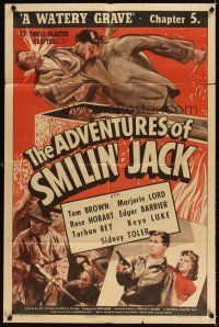 3g020 ADVENTURES OF SMILIN' JACK chapter 5 1sh '42 Tom Brown Universal serial, A Watery Grave!