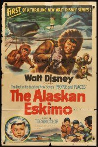 3g022 ALASKAN ESKIMO style A 1sh '53 Walt Disney, art of arctic natives, People & Places series!