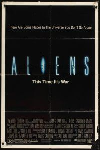 3g025 ALIENS 1sh '86 James Cameron, Signourney Weaver, this time it's war!