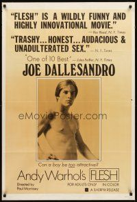 3g035 ANDY WARHOL'S FLESH 1sh '68 can barechested Joe Dallesandro be TOO attractive!