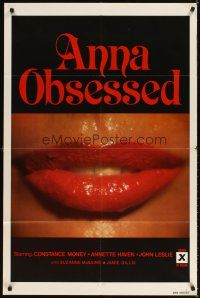 3g036 ANNA OBSESSED 1sh '77 Constance Money, Annette Haven, Jamie Gillis, sexy lips!