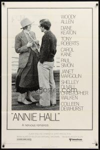 3g037 ANNIE HALL 1sh '77 full-length Woody Allen & Diane Keaton, a nervous romance!