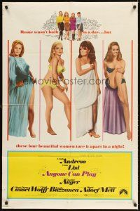 3g038 ANYONE CAN PLAY 1sh '68 sexy near-naked Ursula Andress, Virna Lisi, Claudine Auger & Mell!