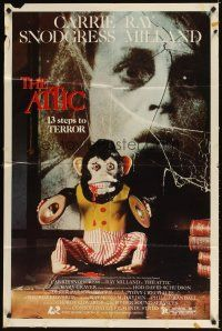 3g042 ATTIC 1sh '80 Carrie Snodgress, Ray Milland, creepy monkey, 13 steps to terror!