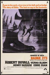 3g048 BADGE 373 1sh '73 Robert Duvall is a tough New York cop with a gun in his sock & no badge!