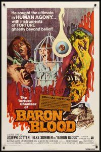 3g052 BARON BLOOD 1sh '72 Mario Bava, the ultimate in human agony, torture beyond belief!