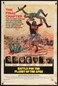 3g057 BATTLE FOR THE PLANET OF THE APES 1sh '73 great sci-fi artwork of war between apes & humans!