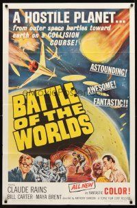3g058 BATTLE OF THE WORLDS 1sh '61 cool sci-fi, flying saucers from a hostile enemy planet!
